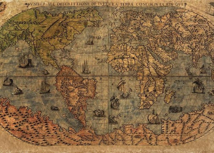 Old World Map Greeting Card featuring the digital art Old World Map by Dan Sproul