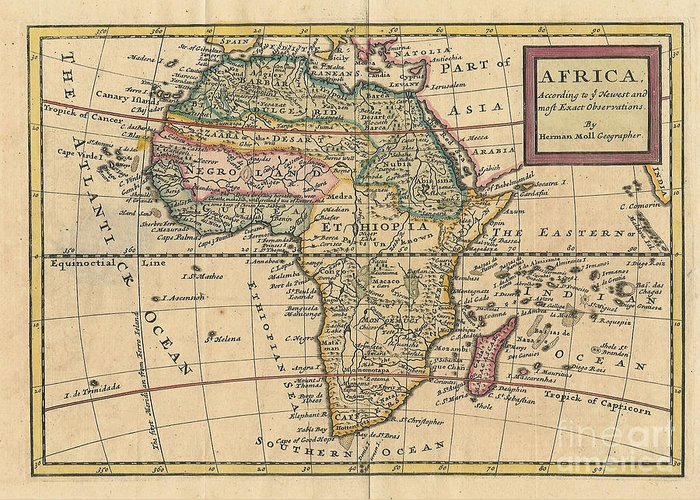 Old World Map Of Africa Greeting Card
