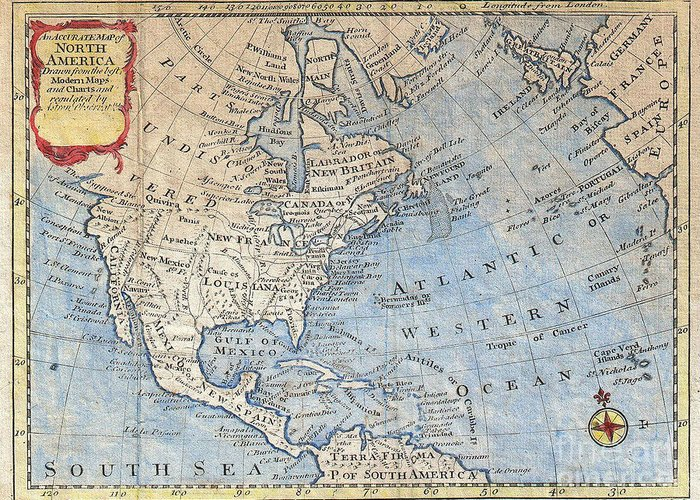 Old world map of north america greeting card for sale by inspired old world greeting card featuring the photograph old world map of north america by inspired nature gumiabroncs Image collections