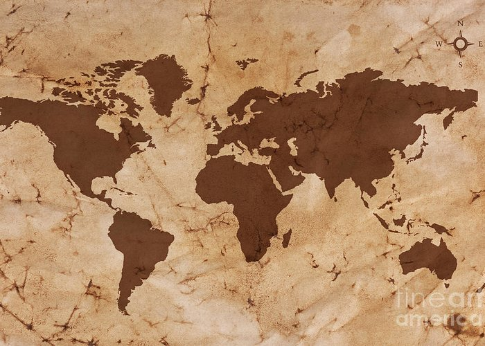 World Map Greeting Card featuring the photograph Old World Map On Creased And Stained Parchment Paper by Richard Thomas