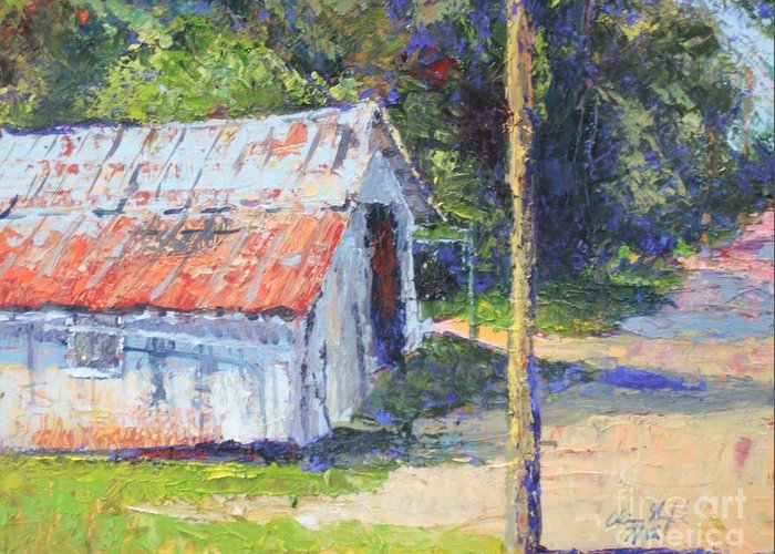 Old Shed Painting Greeting Card featuring the painting Olde Shed by Chris Shepherd