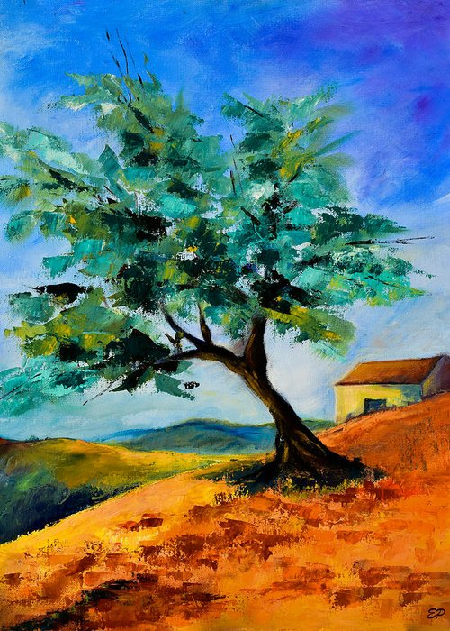 Olive Greeting Card featuring the painting Olive Tree On The Hill by Elise Palmigiani