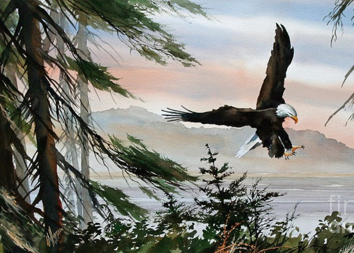 Eagle Fine Art Print Greeting Card featuring the painting Olympic Coast Eagle by James Williamson