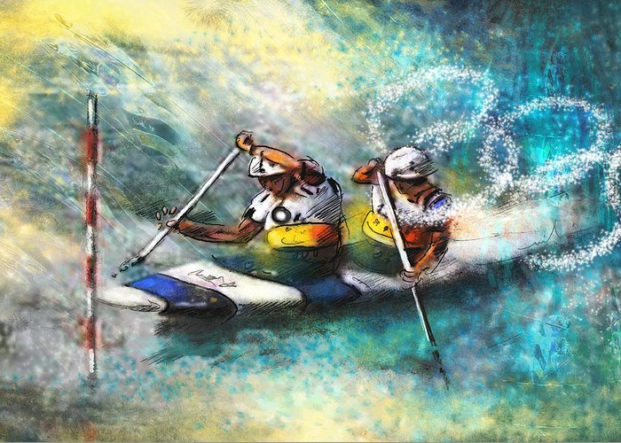 Sports Greeting Card featuring the painting Olympics Canoe Slalom 01 by Miki De Goodaboom