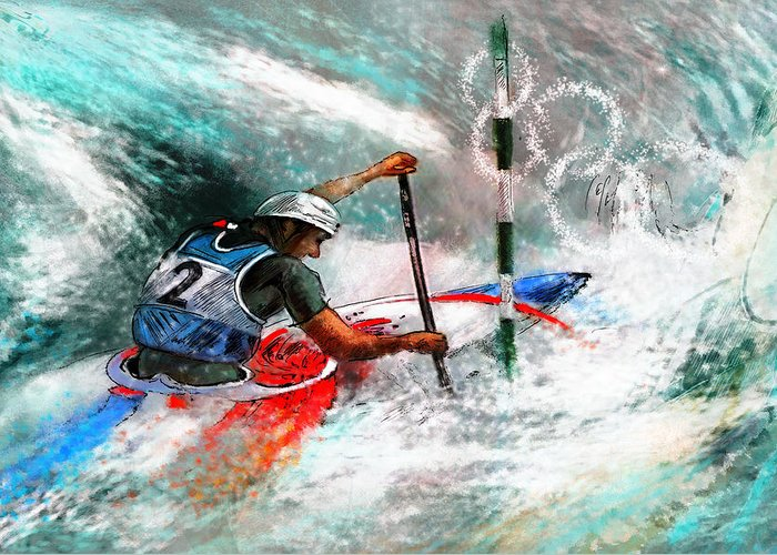 Sports Greeting Card featuring the painting Olympics Canoe Slalom 02 by Miki De Goodaboom