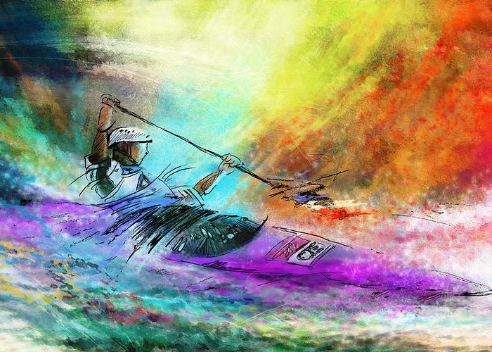 Sports Greeting Card featuring the painting Olympics Canoe Slalom 03 by Miki De Goodaboom