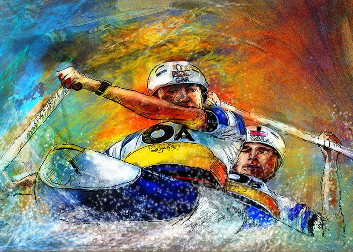 Sports Greeting Card featuring the painting Olympics Canoe Slalom 04 by Miki De Goodaboom
