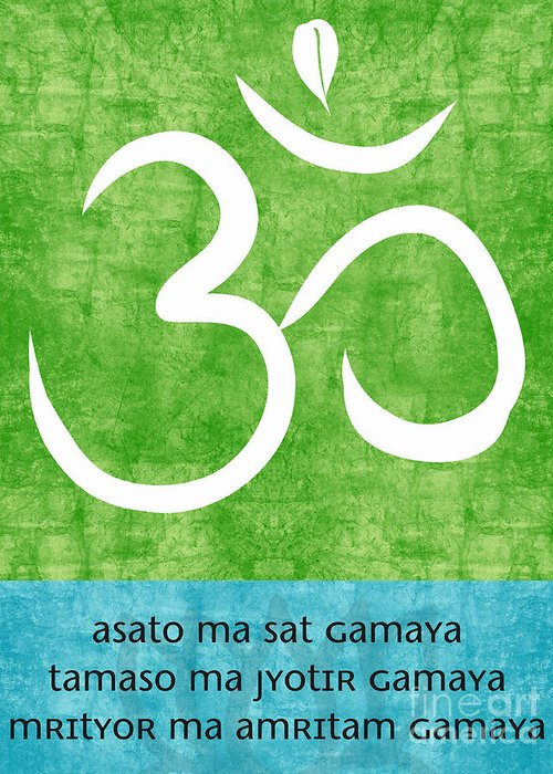 Om Greeting Card featuring the painting Om Asato Ma Sadgamaya by Linda Woods
