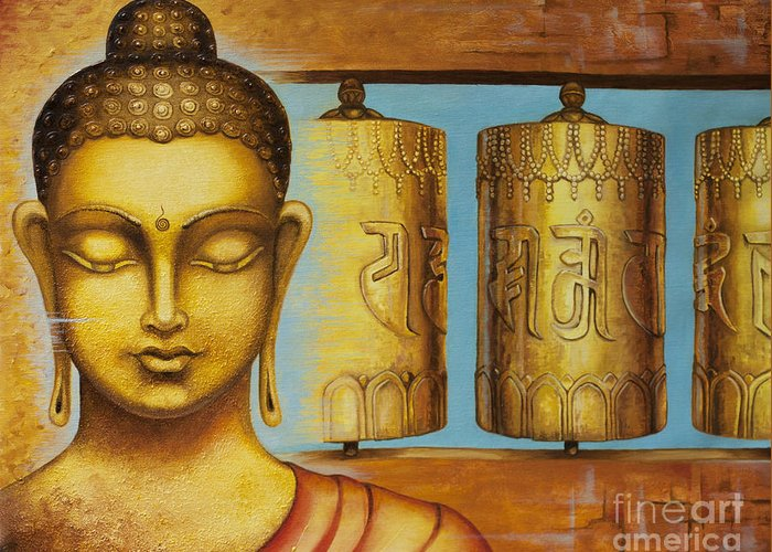 Buddha Greeting Card featuring the painting Om Mani Padme Hum by Yuliya Glavnaya