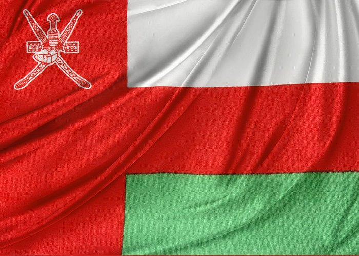 Background Greeting Card featuring the photograph Oman Flag by Les Cunliffe