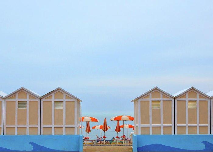 Landscape Greeting Card featuring the photograph Ombrelloni by Massimo Della Latta