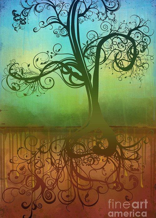 Tree Greeting Card featuring the digital art Omid by Ryan Burton