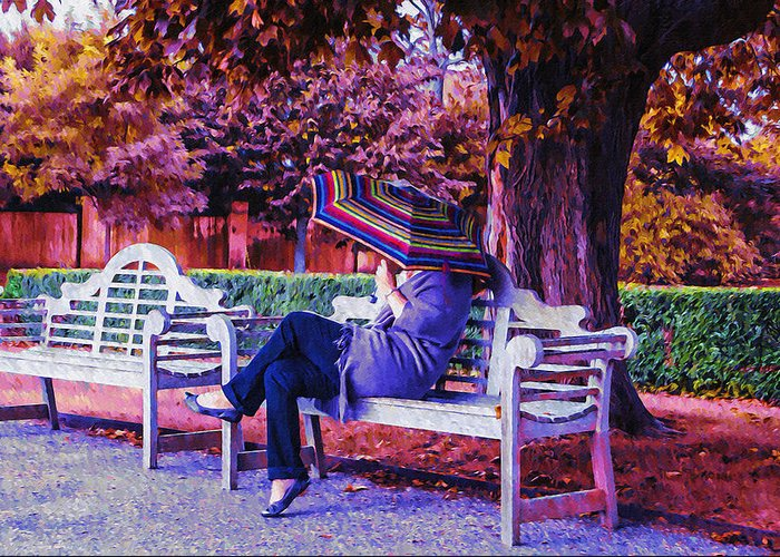 Bench Greeting Card featuring the photograph On A Bench Under An Umbrella In Autumn by Bill Cannon