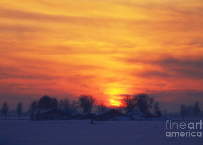 Evening Greeting Card featuring the photograph On A Cold Winter Evening by LHJB Photography