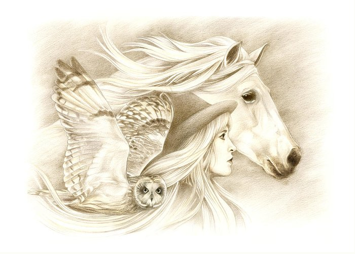 Horse Greeting Card featuring the drawing On A Journey... by Johanna Pieterman
