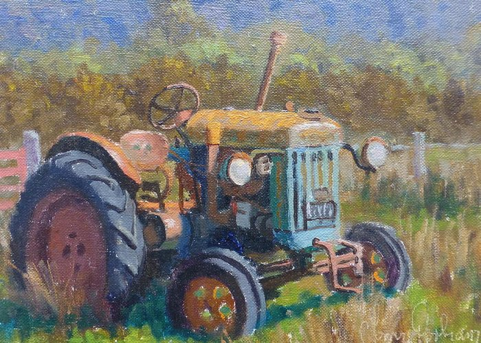 Landscape Greeting Card featuring the painting On A Westland Farm by Terry Perham