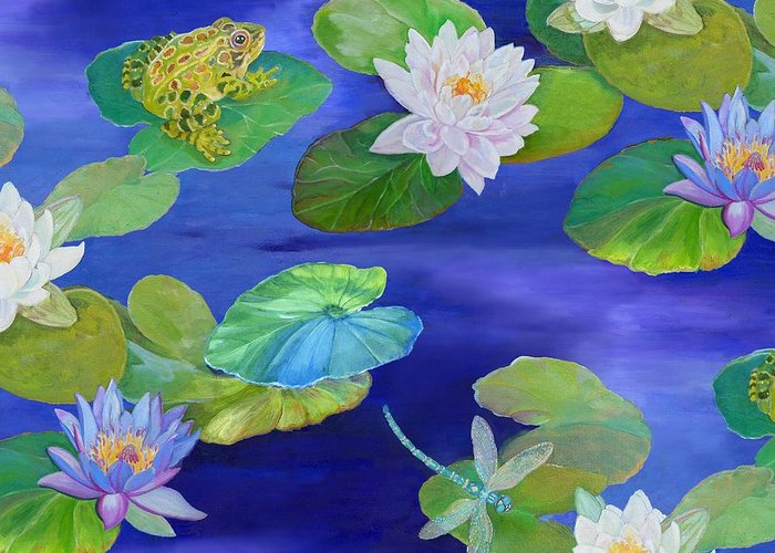 Flying Frog Paintings Greeting Cards