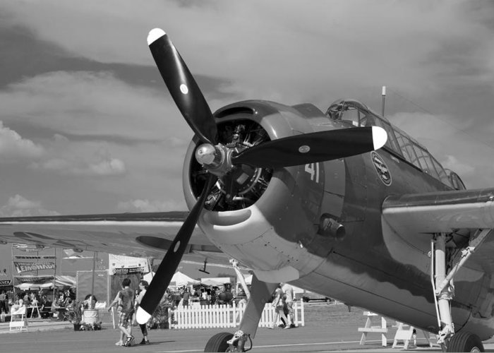 Transportation Airplanes Flying Planes Vintage Airshow Airport Greeting Card featuring the photograph On Display Bw by Marilyn Atwell