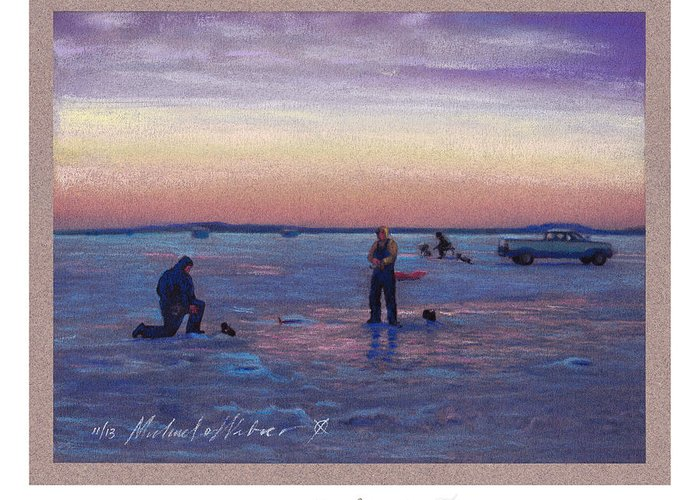 Land Greeting Card featuring the pastel On Frozen Pond by Michael Weber