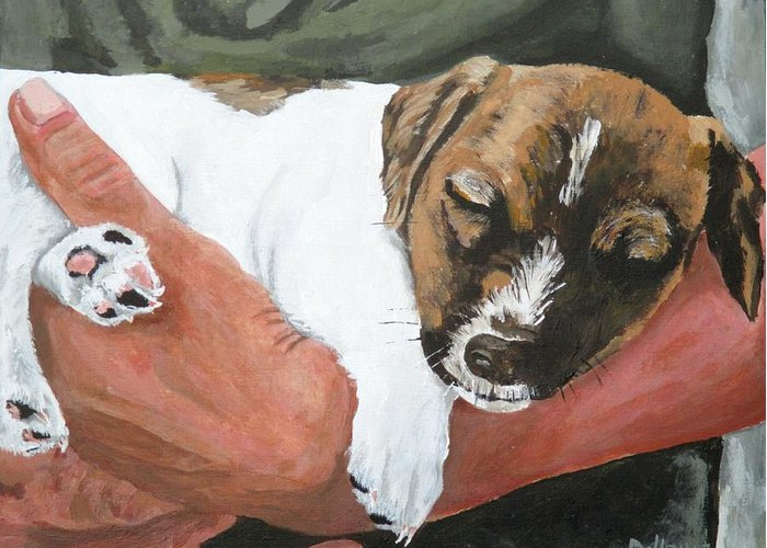 Guard Dog Greeting Card featuring the painting On Guard by Michael Dillon