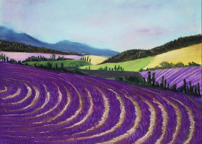 Interior Greeting Card featuring the painting On Lavender Trail by Anastasiya Malakhova