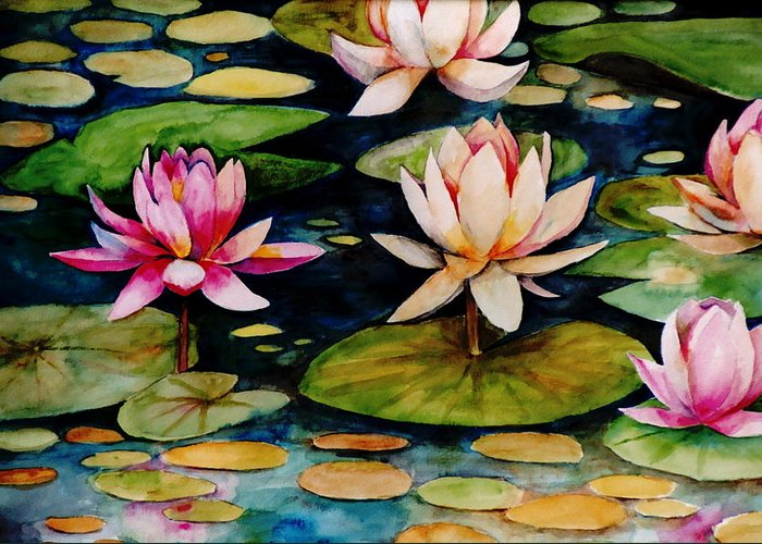 Lily Greeting Card featuring the painting On Lily Pond by Jun Jamosmos
