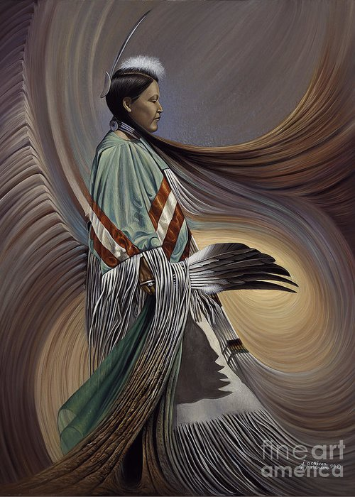 Native-american Greeting Card featuring the painting On Sacred Ground Series I by Ricardo Chavez-Mendez