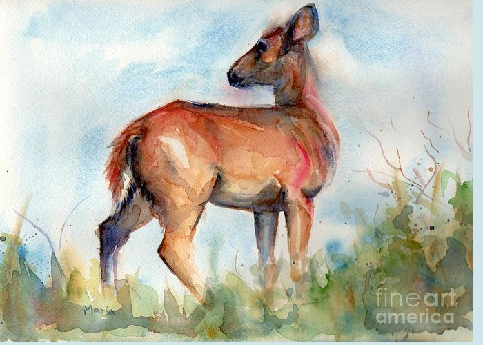 Deer Painting Greeting Card featuring the painting On Second Thought by Maria's Watercolor