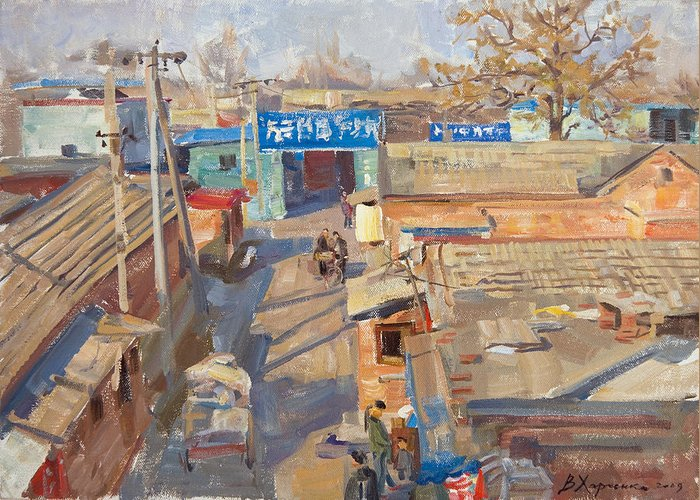 Beijing Greeting Card featuring the painting On The Backyards Of Beijing by Victoria Kharchenko