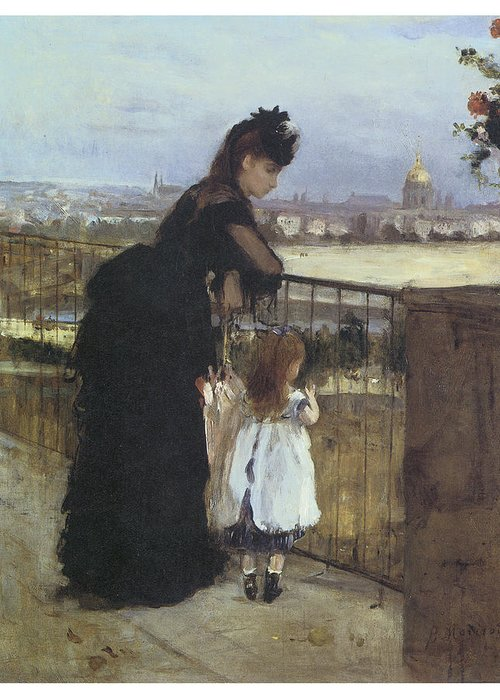 Berthe Morisot Greeting Card featuring the painting On The Balcony by Berthe Morisot
