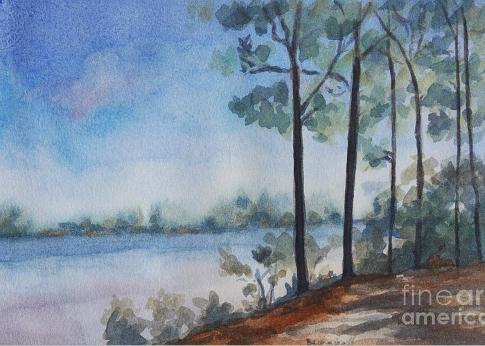 Landscape Greeting Card featuring the painting On the Bay by Jan Bennicoff
