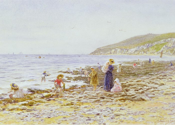 Beach Greeting Card featuring the painting On The Beach by Helen Allingham