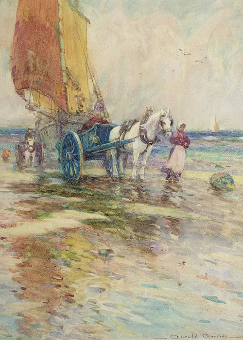 Horse And Cart Greeting Card featuring the painting On The Beach by Oswald Garside