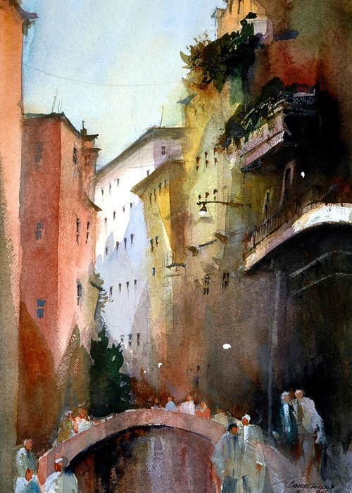 Venice Greeting Card featuring the painting On the Canal - Venice by Charles Rowland