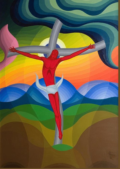 Jesus Christ Greeting Card featuring the painting On The Cross by Emil Parrag