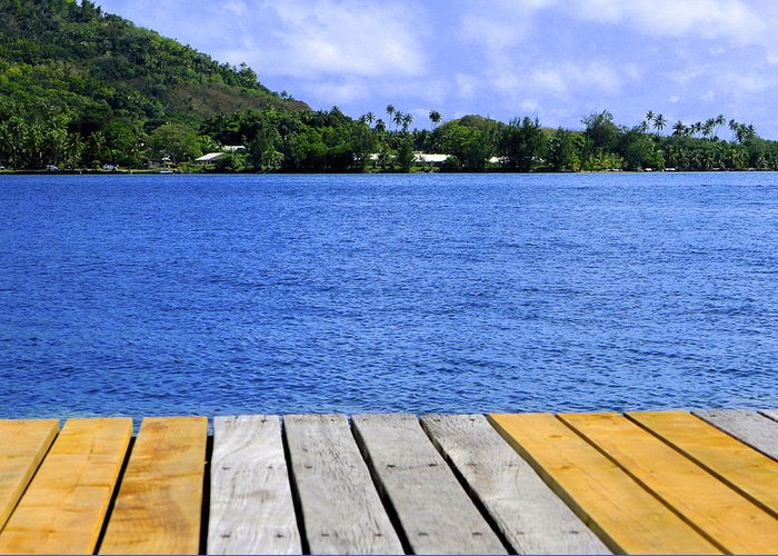 Abstract Greeting Card featuring the photograph on the dock in Tahiti by Sophal Benefield