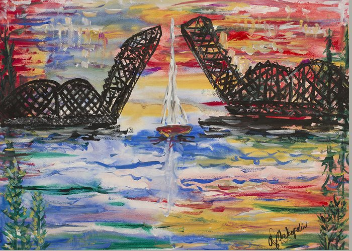 Door County Greeting Card featuring the painting On The Hour. The Sailboat And The Steel Bridge by Andrew J Andropolis