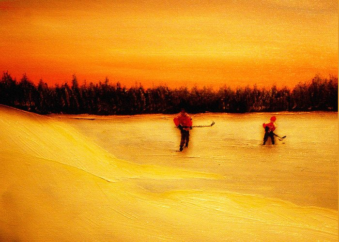 Shinny Hockey Painting Greeting Card featuring the painting On The Pond With Dad by Desmond Raymond