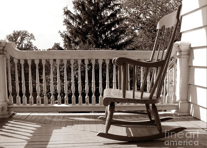 Armchair Greeting Card featuring the photograph On The Porch by Olivier Le Queinec