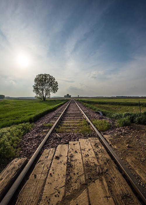 Railroad Greeting Card featuring the photograph On The Right Track by Aaron J Groen