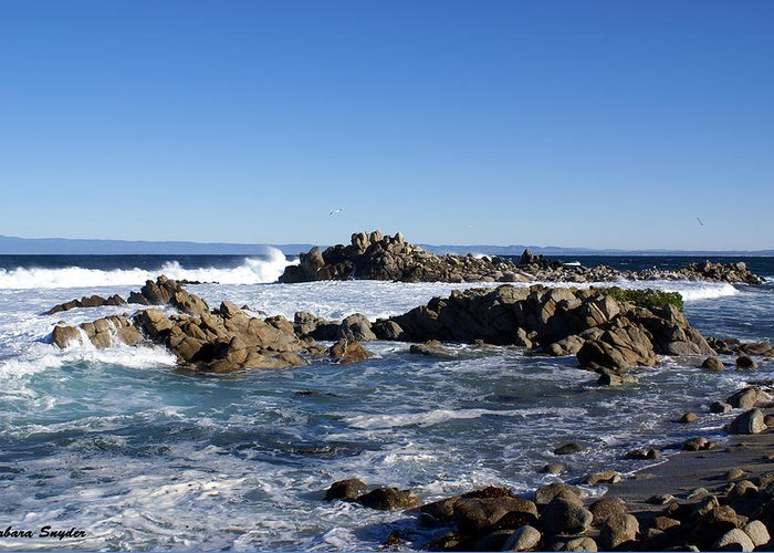 Sea Foam Greeting Card featuring the digital art On The Rocks by Barbara Snyder