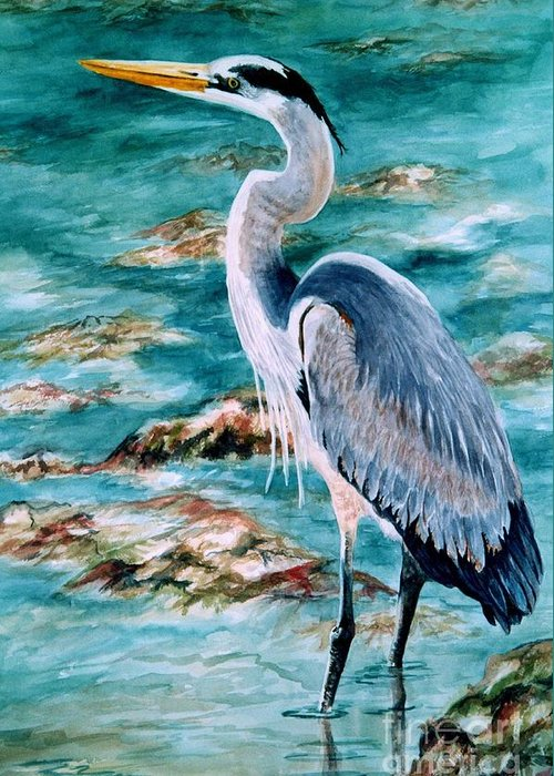 Great Blue Heron Greeting Card featuring the painting On The Rocks Great Blue Heron by Roxanne Tobaison