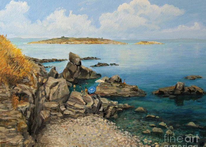 Art Greeting Card featuring the painting On The Rocks In The Old Part Of Sozopol by Kiril Stanchev