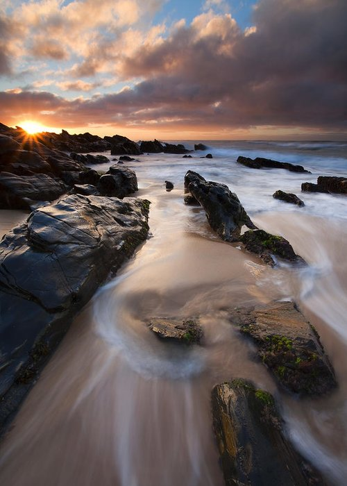 Basham Beach Greeting Card featuring the photograph On The Rocks by Mike Dawson