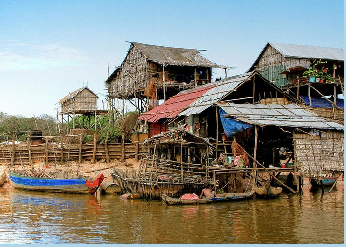 Bamboo Huts Greeting Card featuring the photograph On The Shores Of Tonle Sap by Douglas J Fisher