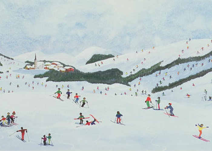 Snow; Ski School; Naive; Chalet Greeting Card featuring the painting On The Slopes by Judy Joel