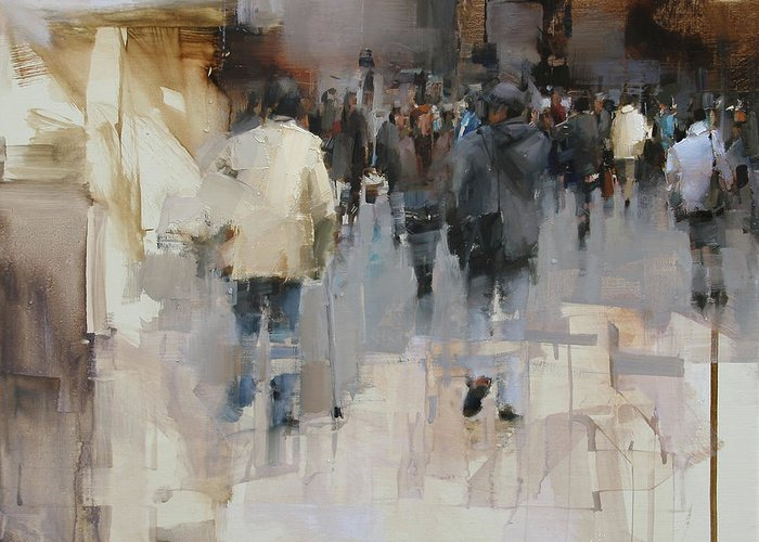 Architecture Greeting Card featuring the painting On The Street by Tibor Nagy