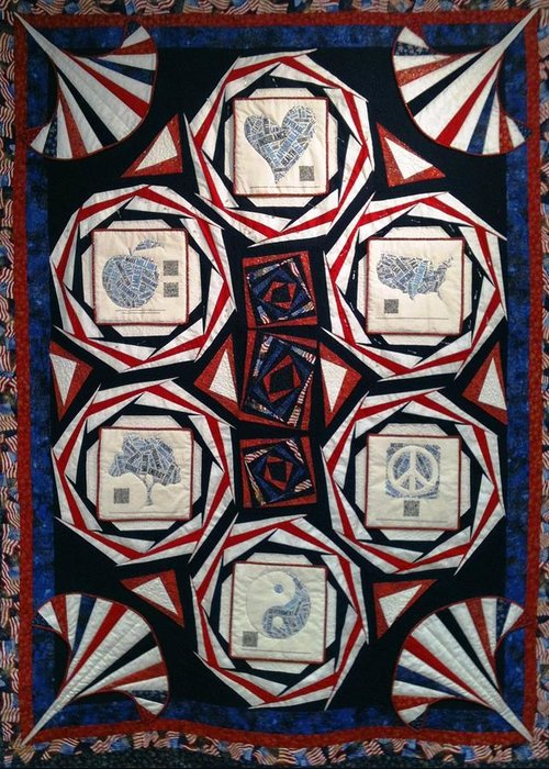 Quilt Greeting Card featuring the tapestry - textile On The Table by Tracie L Hawkins