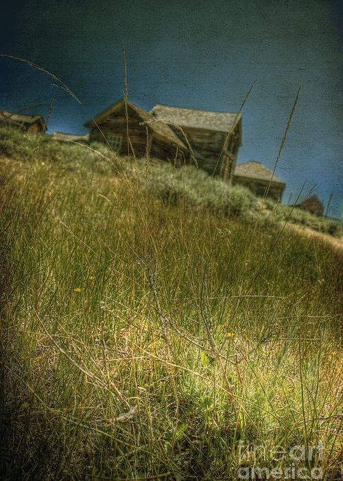 Structure; Wood; Wooden; Country; Countryside; Desert; Deserted; Hill; Worn; Abandoned; Boards; Ruins; Grasses; Hills; House; Home; Dark; Ominous; Buildings; Rural; Vast; Dirt; Window; Sky; Vintage; Antique Greeting Card featuring the photograph On The Top Of Grassy Hill by Margie Hurwich
