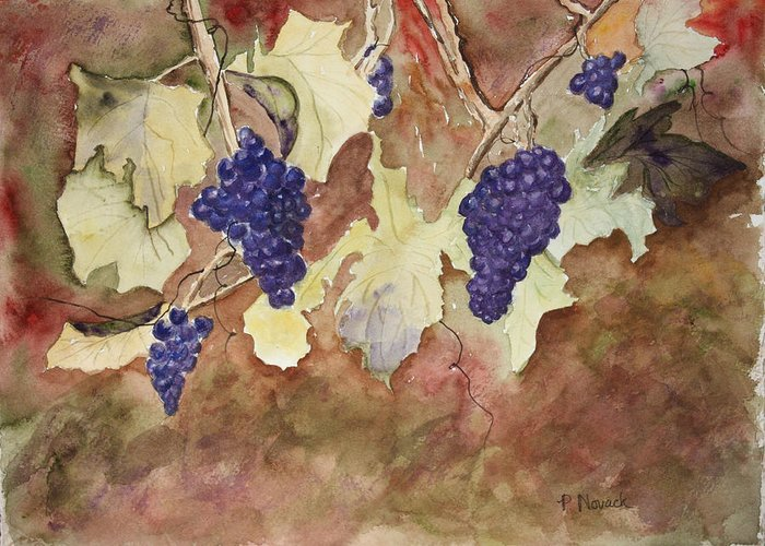 Grapes Greeting Card featuring the painting On The Vine by Patricia Novack